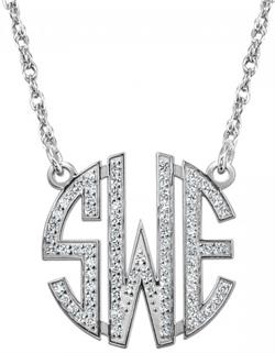 Alison & Ivy - 3 Initial Multi-Diamond Block Monogram Necklace - Customizable Jewelry Collection