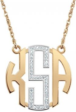 Alison & Ivy - Multi-Diamond Block Monogram Necklace - Customizable Jewelry Collection