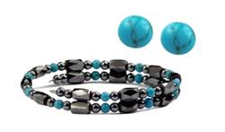 Hematite and Simulated Turquoise - Magnetic Therapy Wrap Bracelet and Earring Set