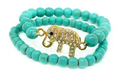 FREE GIFT - Simulated Turquoise Elephant Stretch Bracelet