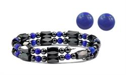 Hematite and Simulated Lapis - Magnetic Therapy Wrap Bracelet and Earring Set