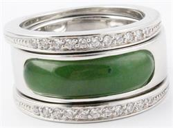 Size 9 Genuine Natural Polar Nephrite Jade & Sterling Silver Ring