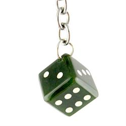 Genuine Natural Nephrite Jade Dice Keychain