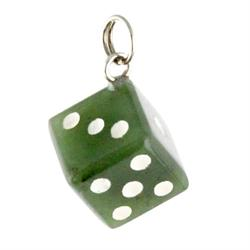 Genuine Natural Nephrite Jade Dice Charm