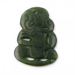 40mm Genuine Natural Nephrite Jade Carved Tiki Pendant w/ Drilled Hole
