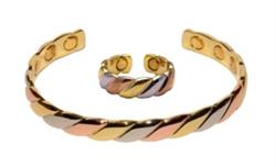 Three Tone Set - Copper Magnetic Therapy Bracelet and Ring Set