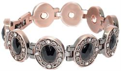 Copper Plated w/ Rhinestones - Magnetic Therapy Bracelet (NP445)