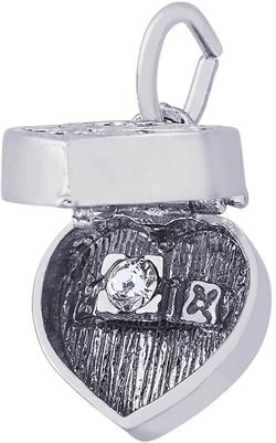 Heart Engagement Ring Box Charm w/ White Synthetic Crystal (Choose Metal) by Rembrandt