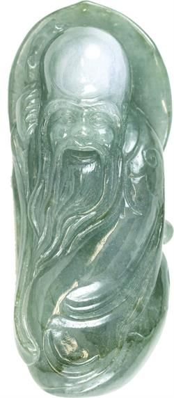 Natural Carved Lavender & Green Jadeite Jade Old Man Wisdom w/ Staff Statuary