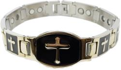 Black Enamel w/ Cross (two 5,000 gauss) - Stainless Steel Magnetic Therapy Bracelet (SS1475002)