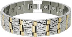 Golden Columns - Gold Plated Stainless Steel Magnetic Therapy Bracelet