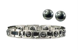 Hematite & Silver Set - Magnetic Therapy Bracelet and Earring Set
