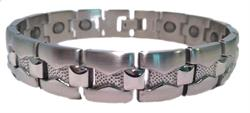 Cross Ridges - Stainless Steel Magnetic Therapy Bracelet - DISCONTINUED