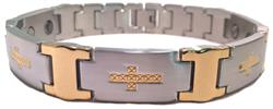 Golden Crosses - Stainless Steel Magnetic Therapy Bracelet - DISCONTINUED