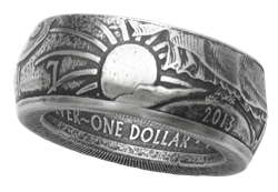 Silver Eagle Dollar Coin Ring - Handmade by Maria Lucia