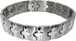 Silver Ovals - Silver Plated Pure Titanium Magnetic Therapy Bracelet (T516S)