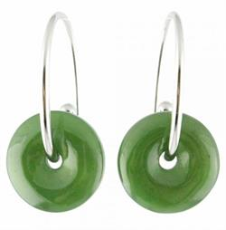 Circular Genuine Natural Polar Nephrite Jade Earrings With Center Hole