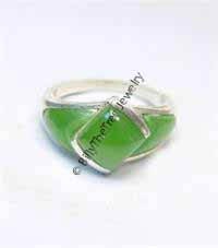 Polar Jade Ring w/3 Stone Sections (R0497) - LIMITED STOCK