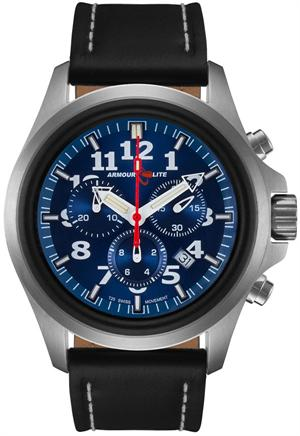 ArmourLite Tritium Watch - Officer Series Chronograph AL804 - Silver with Black Leather Band - DISCONTINUED