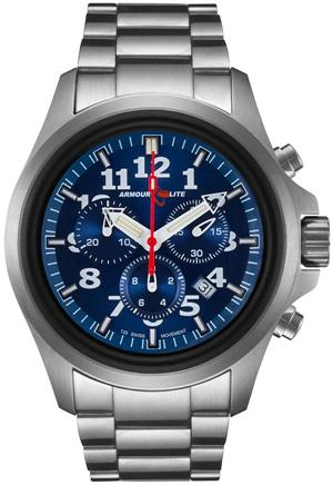ArmourLite Tritium Watch - Officer Series Chronograph AL814 - Silver with Blue Dial - DISCONTINUED