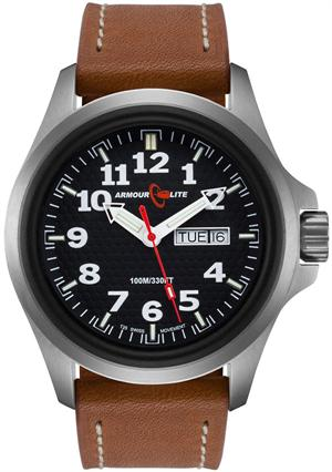 ArmourLite Tritium Watch - Officer Series AL821 - Silver with Brown Leather Strap
