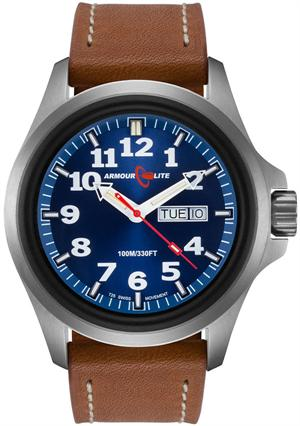 ArmourLite Tritium Watch - Officer Series AL823 - Silver with Metallic Blue Dial