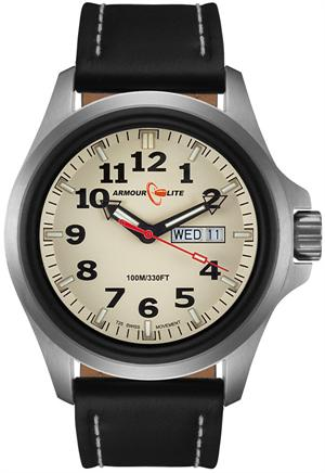 ArmourLite Tritium Watch - Officer Series AL825 - Silver with Black Leather Strap