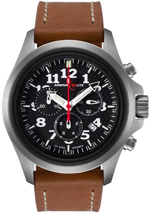 ArmourLite Tritium Watch - Officer Series Chronograph AL832 - Silver with Brown Leather Strap - DISCONTINUED