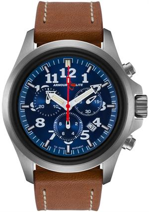 ArmourLite Tritium Watch - Officer Series Chronograph AL834 - Silver with Metallic Blue Dial - DISCONTINUED