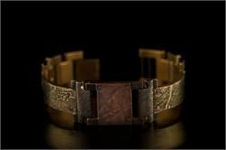 Brass Textured Design in Narrow Band WatchCraft (R) Handmade Bracelet (B22)