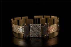 Brass Textured Design in Narrow Band WatchCraft (R) Handmade Bracelet (B25)