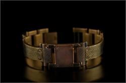 Brass Greek Design in Narrow Band WatchCraft (R) Handmade Bracelet (B28)