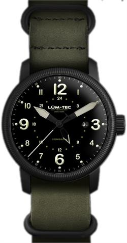 Lum-Tec Watch - Combat B - B38 GMT w/ 2 Straps Nylon & Green Leather - DISCONTINUED