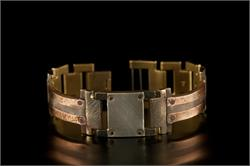 Copper Trim with Copper Concrete Engraving in Narrow Band WatchCraft (R) Handmade Bracelet (B43)