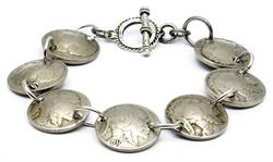 Indian Head Nickel Coin Magnetic Bracelet Handmade by Maria Lucia