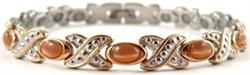 Simulated Brown Cat Eye Gemstone - Stainless Steel Magnetic Therapy Bracelet (CSS-311) - DISCONTINUED