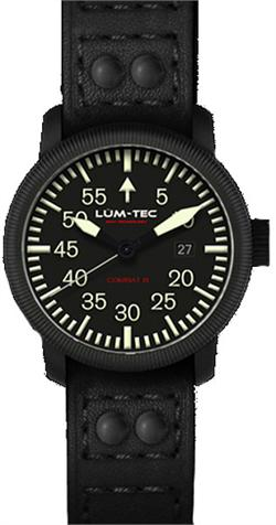 Lum-Tec Watch - Combat B - B24 Carbon Automatic Mens Military w/ Leather & Rubber Straps - DISCONTINUED