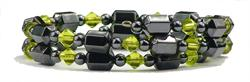 Winter Green and Black Wrap Around - Hematite Magnetic Therapy Bracelet-Anklet (HB-21) - DISCONTINUED