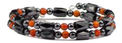 Simulated Red Agate Small Wrap Around - Hematite Magnetic Therapy Bracelet-Anklet (HB-39) - DISCONTINUED