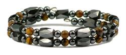 Simulated Tiger Eye Small Wrap Around - Hematite Magnetic Therapy Bracelet-Anklet (HB-40) - DISCONTINUED
