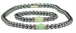 Hematite and Simulated Green Aventurine - Magnetic Therapy Bracelet and Necklace Set (011014)