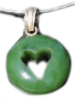 16 Necklace w/Cutout Genuine Natural Nephrite Jade Heart Pendant