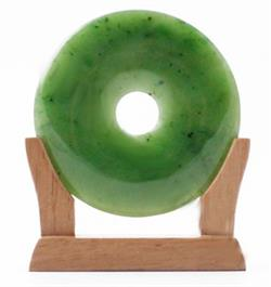60mm Genuine Natural Nephrite Jade Pi on Wooden Stand