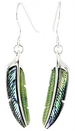 Genuine Natural Nephrite Jade Leaf Feather Earrings w/Abalone Shell