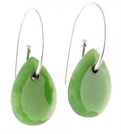 Polar Collection AA+ Genuine Natural Nephrite Jade Pear Shaped Earrings
