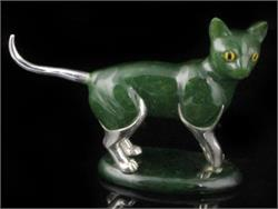 Genuine Natural Nephrite Jade and Sterling Silver Cat Figurine