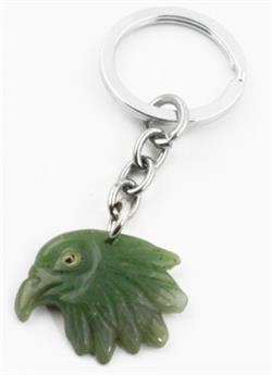 Genuine Natural Nephrite Jade Eagle Head Keychain