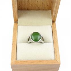 Jade Ring w/ Open Band & Oval Stone (J-OpenOvalRing)