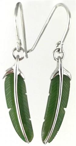 Genuine Natural Nephrite Jade & Sterling Silver Feather Earrings