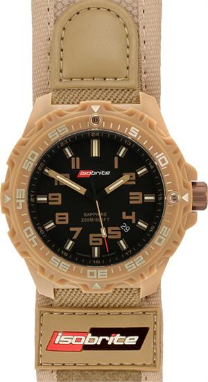 ArmourLite Tritium Watch - Isobrite T100 Valor Series ISO314 (Tan with Nylon/Velcro